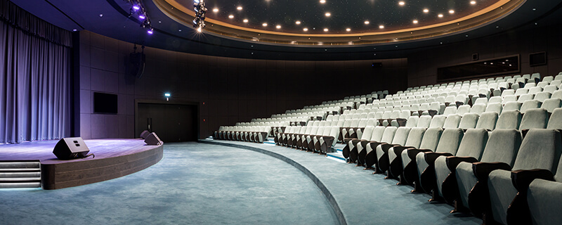Side view of one of our vacant auditoriums in Dubai